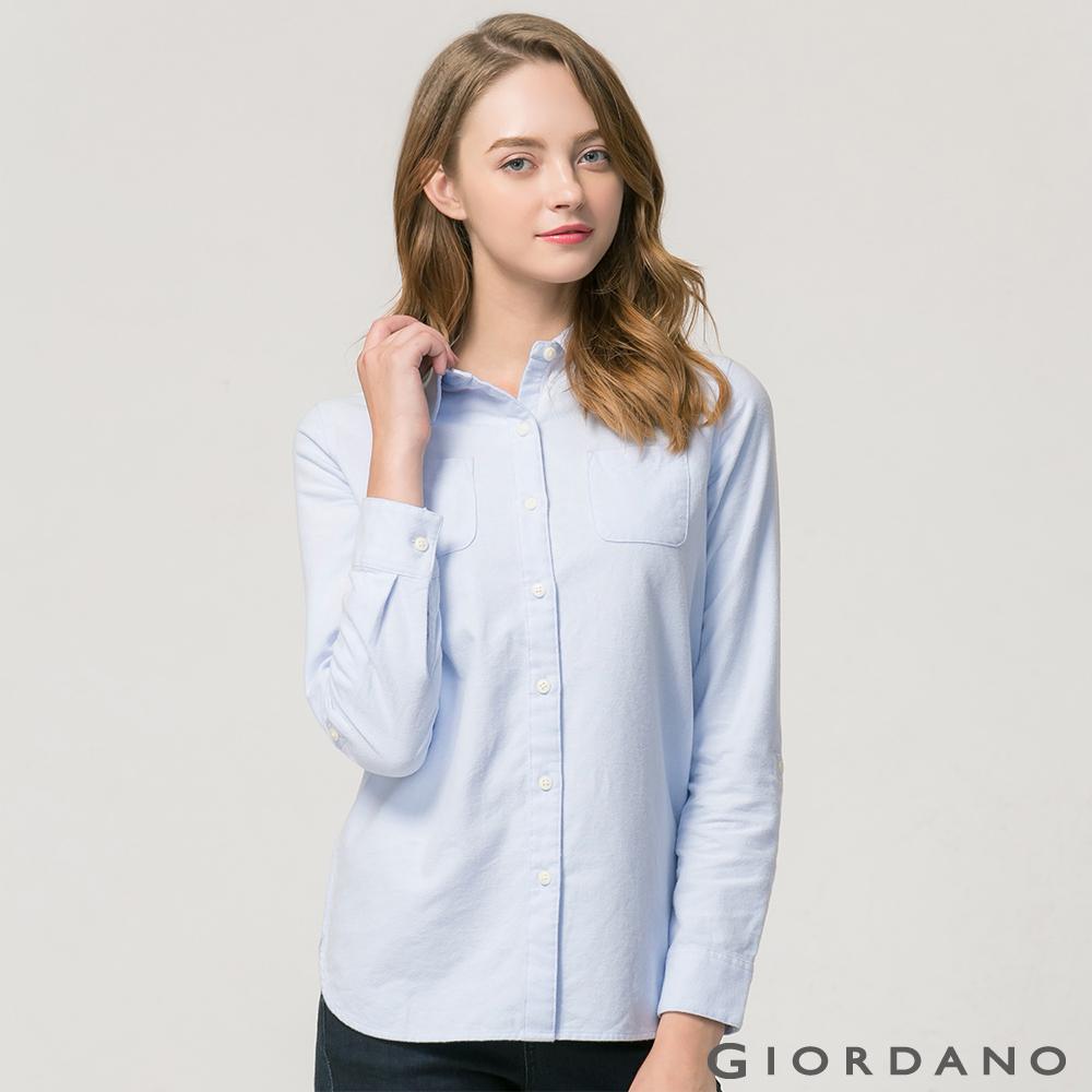 GIORDANO女裝法蘭絨純棉雙口袋可捲袖襯衫-03淺藍