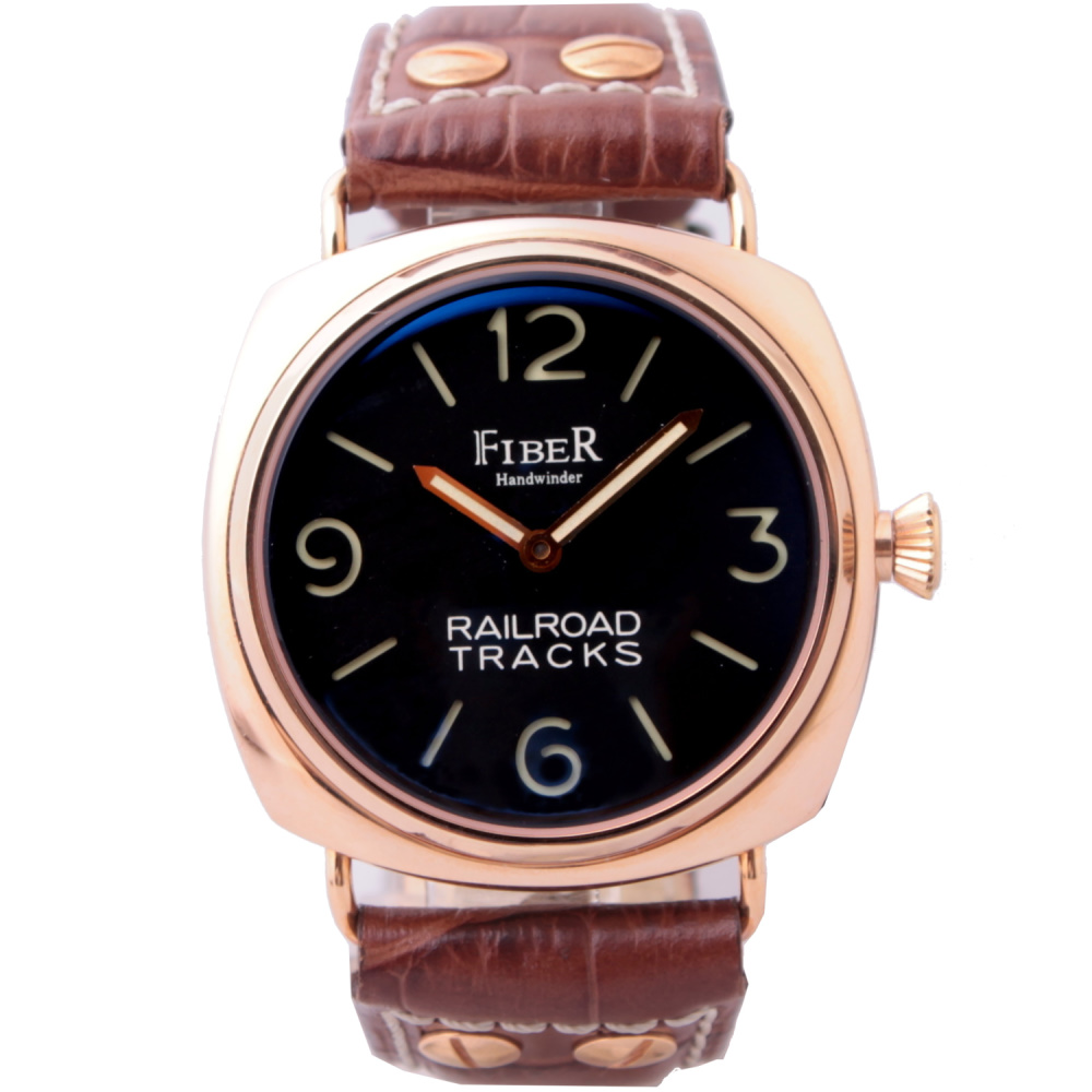 FIBER 法柏經典面盤腕錶-黑x玫瑰金框/42mm