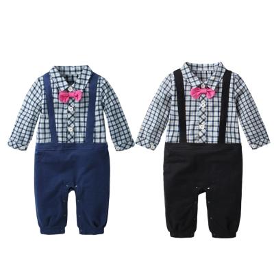 baby童衣 假吊帶紳士細格紋連身衣 60333