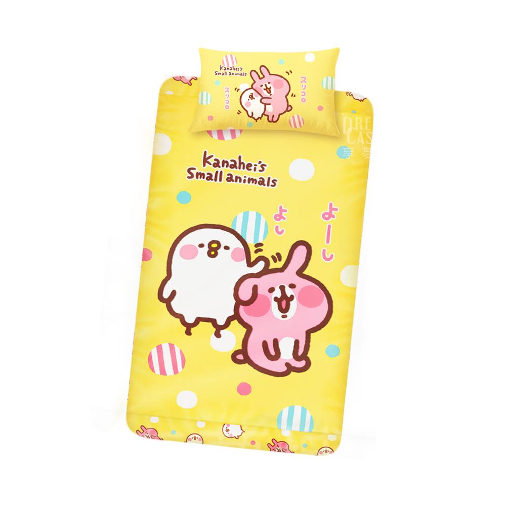 享夢城堡 單人床包枕套二件式組(卡娜赫拉的小動物 親親好友 粉/黃)