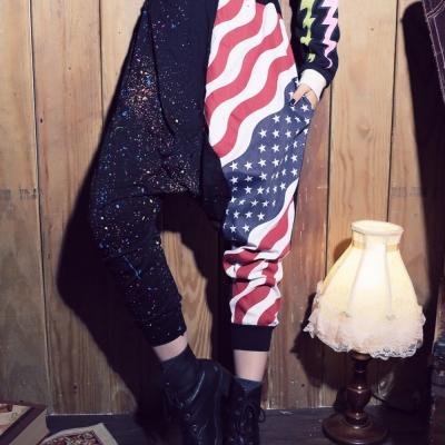 【La Belleza】古著‧國旗星星拼接彩色潑墨低檔束口哈倫褲