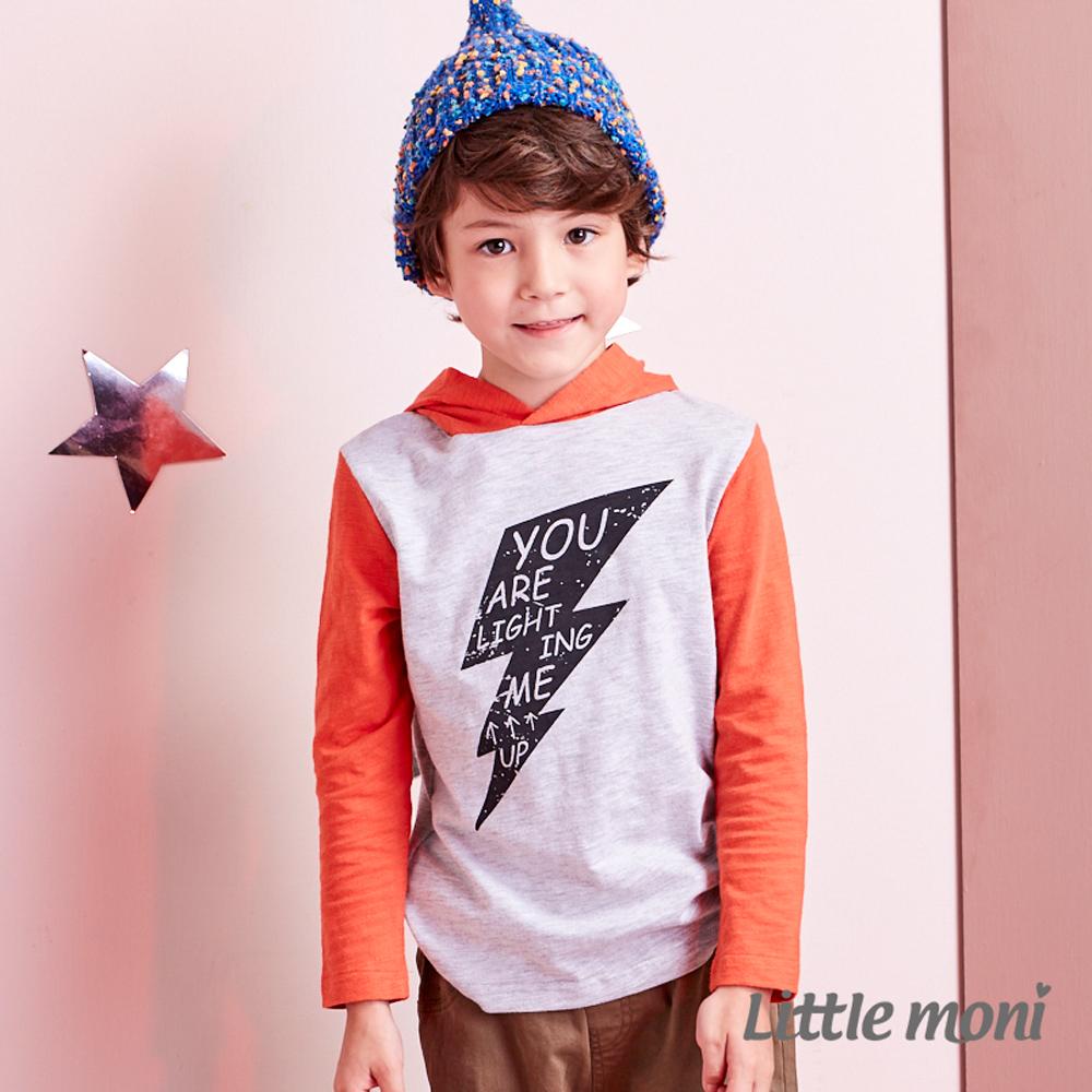 Little moni 閃電印花連帽上衣 (共2色)