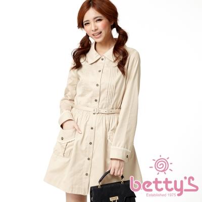betty-s貝蒂思-前胸壓褶袖口蕾絲鑲邊洋裝-淺