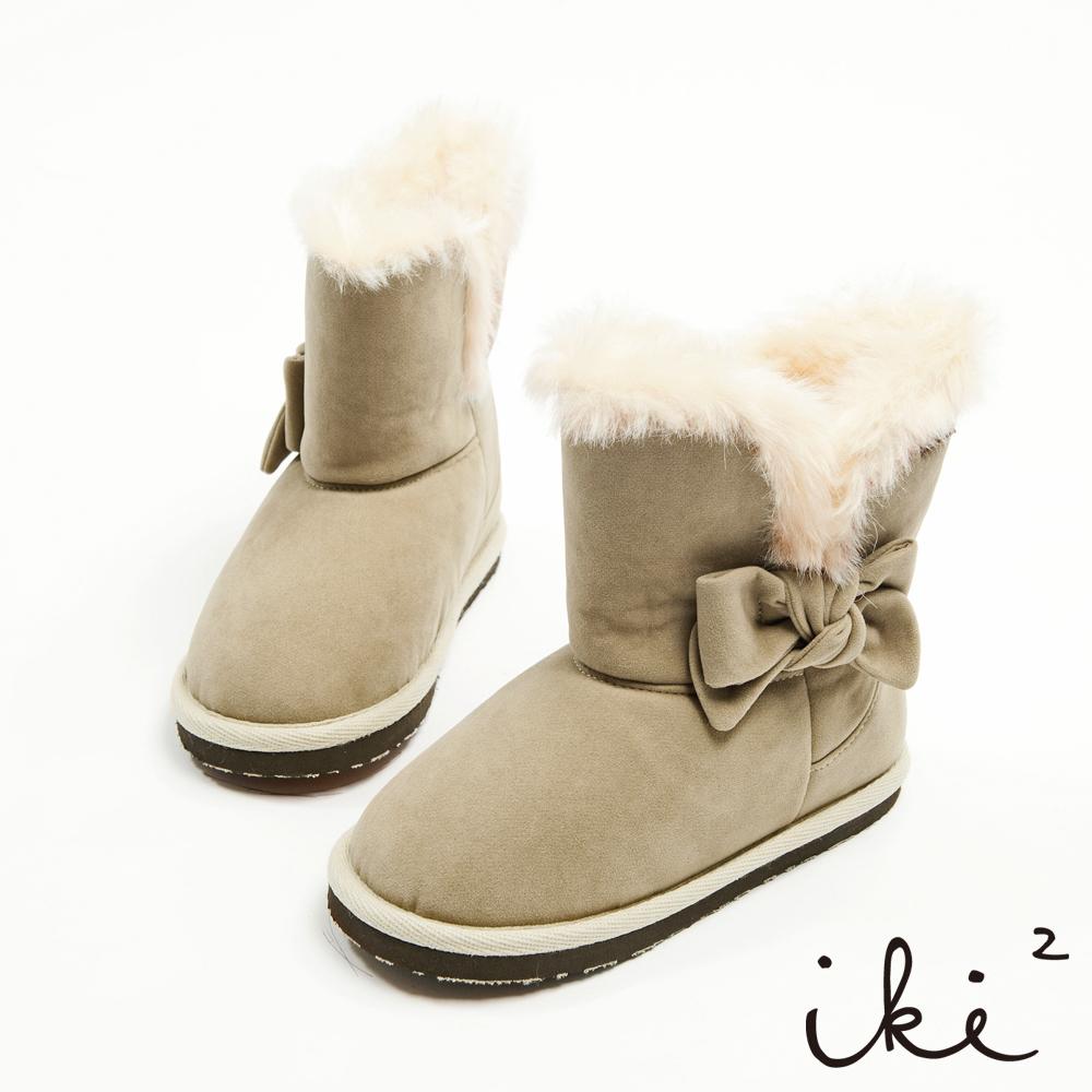 iki2童鞋-課後遊樂園系列-甜美蝴蝶結毛毛滾邊2穿暖暖雪靴-香草杏