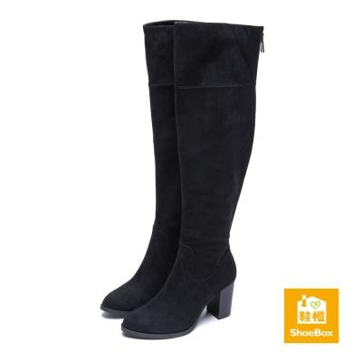 鞋櫃ShoeBox 長靴-布面過膝尖頭高跟長靴-黑