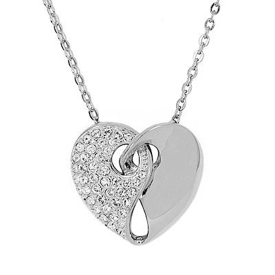 SWAROVSKI 施華洛世奇 Guardian雙色心型愛心水晶銀色項鍊