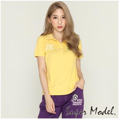 羅馬藝術字款盾牌POLO衫-黃色(M-XL適穿) 名模衣櫃