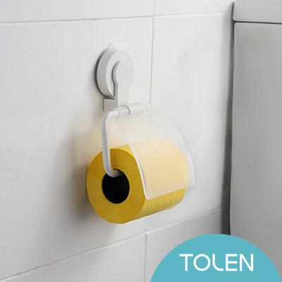 Tolen陶然居 Hyco吸哈扣 強力無痕吸盤-捲筒衛生紙架(白)
