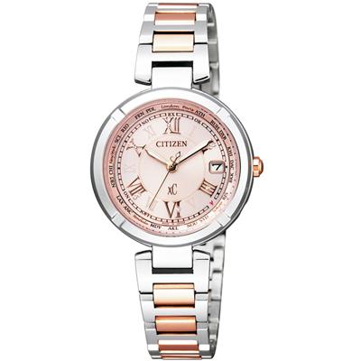 xC 我的小幸運 光動能鈦電波時尚腕錶(EC1114-51W)-粉x雙色/28mm