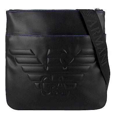 ARMANI 黑色老鷹字樣圖騰仿皮材質方形斜背包