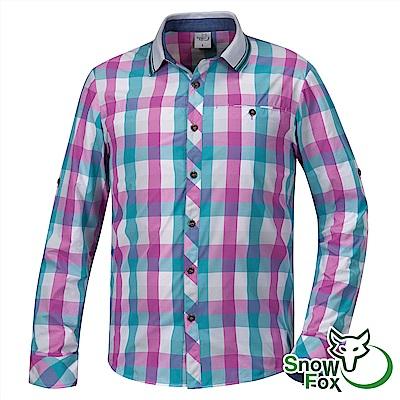 【SNOW FOX 雪狐】男款夏日防曬透氣快乾長短袖格子襯衫AS-81506綠紫格