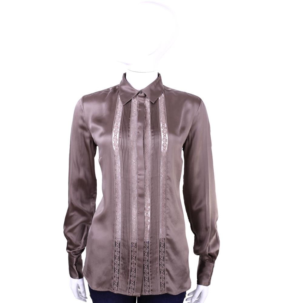 SCERVINO 咖啡色緞面拼接簍空蕾絲長袖襯衫