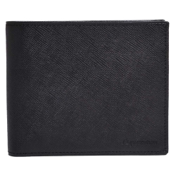 Aquascutum 防刮牛皮字母LOGO壓印4卡釦式零錢短夾(黑)