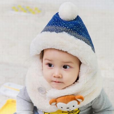 小猴子 毛絨套頭 連帽脖圍一體設計-二色