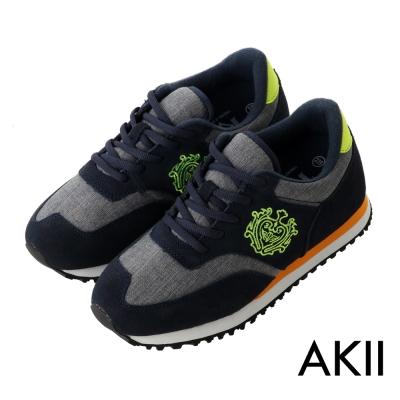 AKII韓國空運 丹寧時尚內增高6公分休閒鞋-灰藍