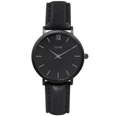 CLUSE荷蘭精品手錶 MINUIT極致黑系列 黑錶盤/黑色皮革錶帶33mm