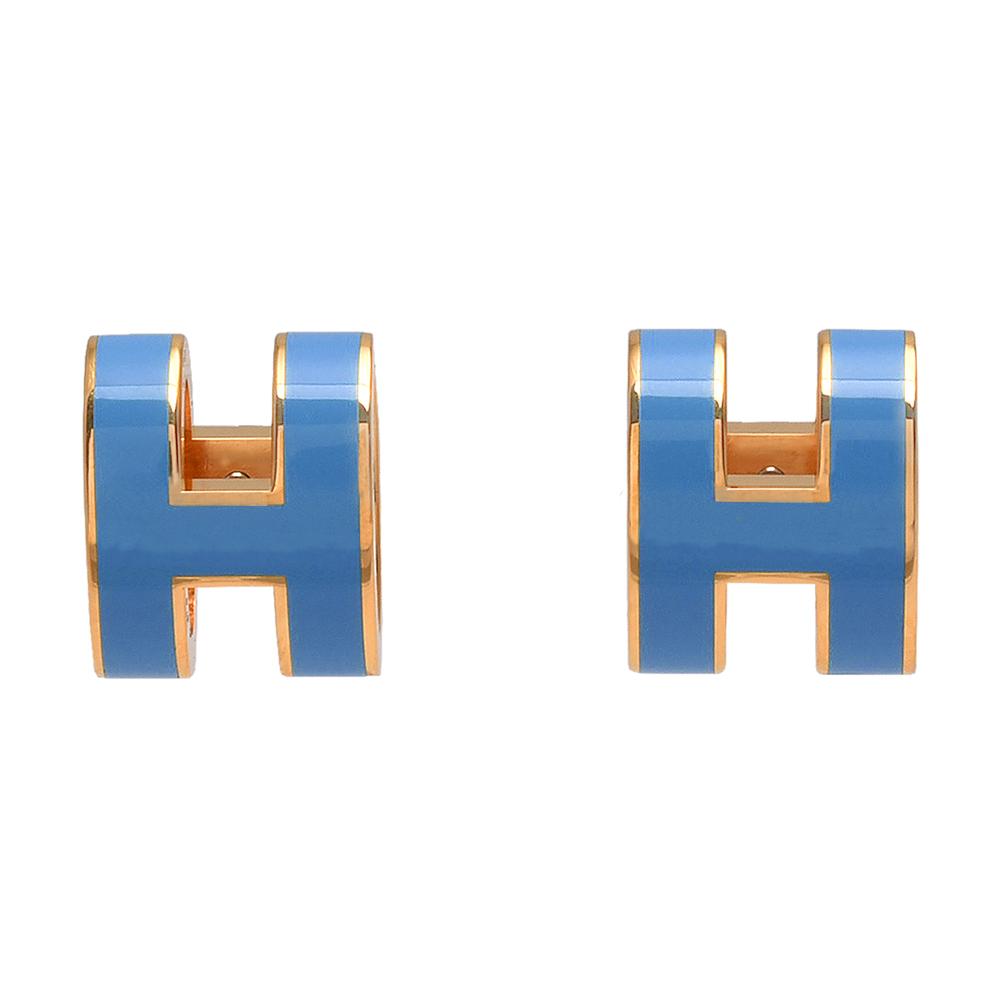 HERMES 經典POP立體H LOGO簍空橢圓穿式耳環(矢車菊藍X金)