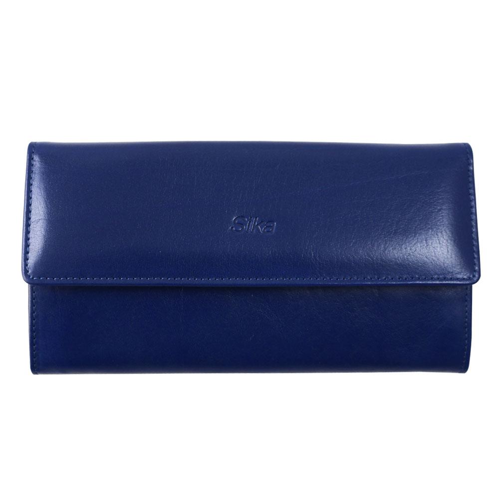 Sika義大利時尚真皮掀翻式壓扣長夾A8284-05亮寶藍
