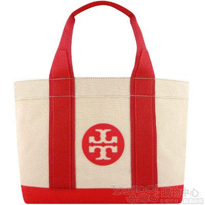 TORY BURCH 紅色厚織帆布托特包【大型】