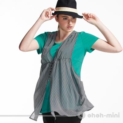【ohoh-mini 孕婦裝】韓風簡約假兩件條紋孕婦上衣(兩色)