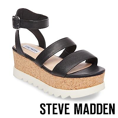 STEVE MADDEN-KIRSTEN 二字帶繫踝軟木厚底涼鞋-黑色