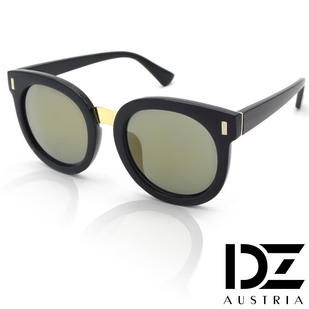 DZ 圓漾長錐菱釘 抗UV太陽眼鏡 墨鏡(黑框金茶膜)