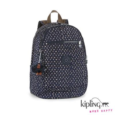 Kipling-後背包-靛藍棉點印花