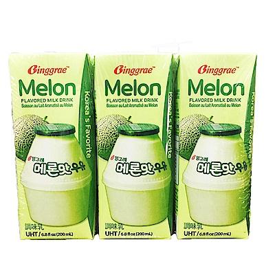 韓味不二 BINGGRAE哈密瓜牛奶(調味乳)(200mlx6瓶)