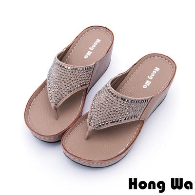 Hong Wa - 浪漫風格水鑽貼飾休閒涼拖鞋 - 咖