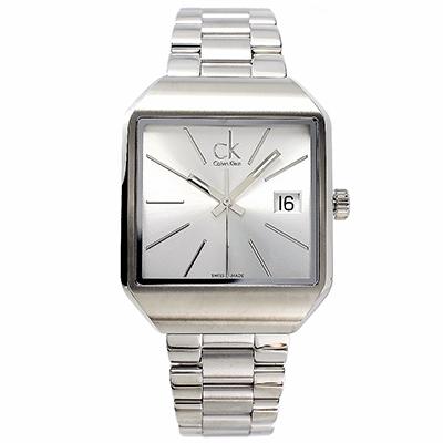 CK Calvin Klein 個性風格極簡手錶(K3L33166) - 銀面/36mm