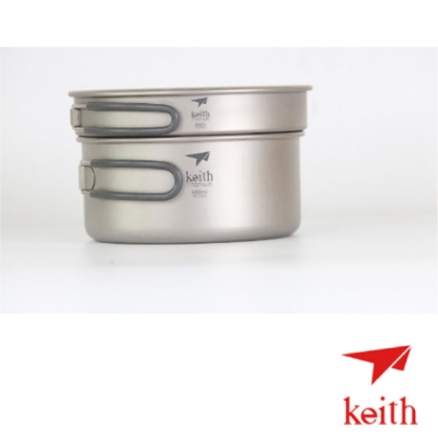 【KEITH】 100 %純鈦  600 + 950 ml 超輕量鈦鍋套裝組