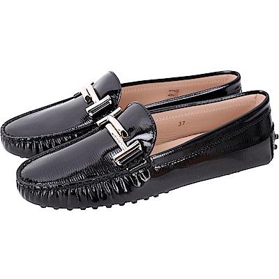 TOD'S Double T 水波壓紋漆亮皮綁帶豆豆鞋(女鞋/黑色)