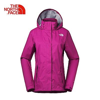 The North Face北面女款粉色防水透氣防風外套