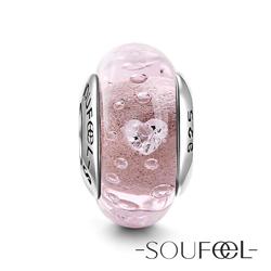 SOUFEEL索菲爾 925純銀珠飾 穆拉諾 粉色愛戀 琉璃珠