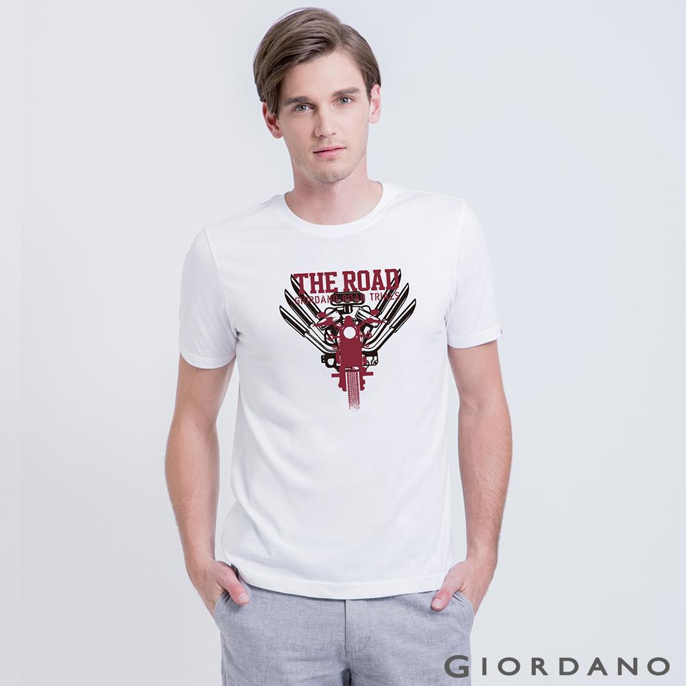GIORDANO男裝美式英文口號休閒短袖TEE- 95 標誌白色