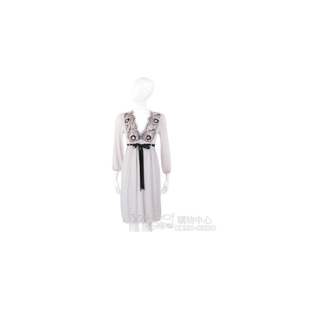 PAOLA FRANI 灰色蕾絲繡花V領洋裝(附腰帶)