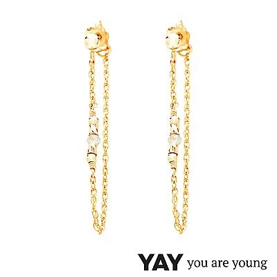YAY You Are Young 法國品牌 Cleo 灰瑪瑙耳環 前後扣雙層鍊設計