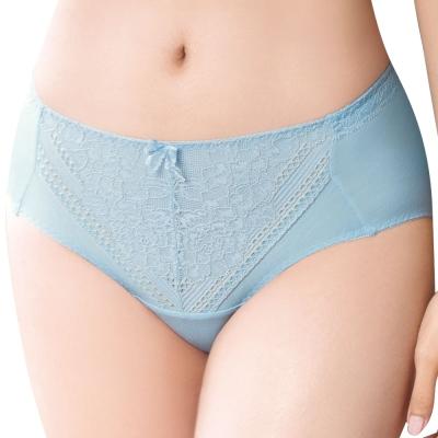 思薇爾 舒棉BRA系列M-XXL蕾絲中腰三角內褲(雲海藍)