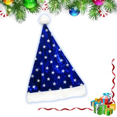 摩達客 冰雪星星亮面藍色聖誕帽