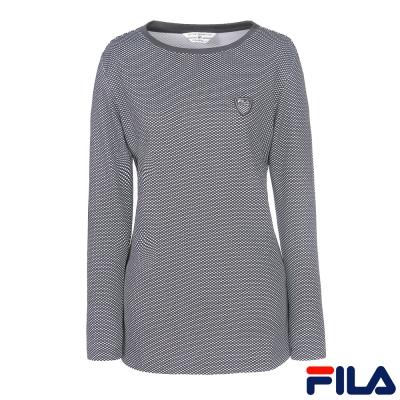 FILA女圓領長版T恤-黑-5TEQ-5444-BK