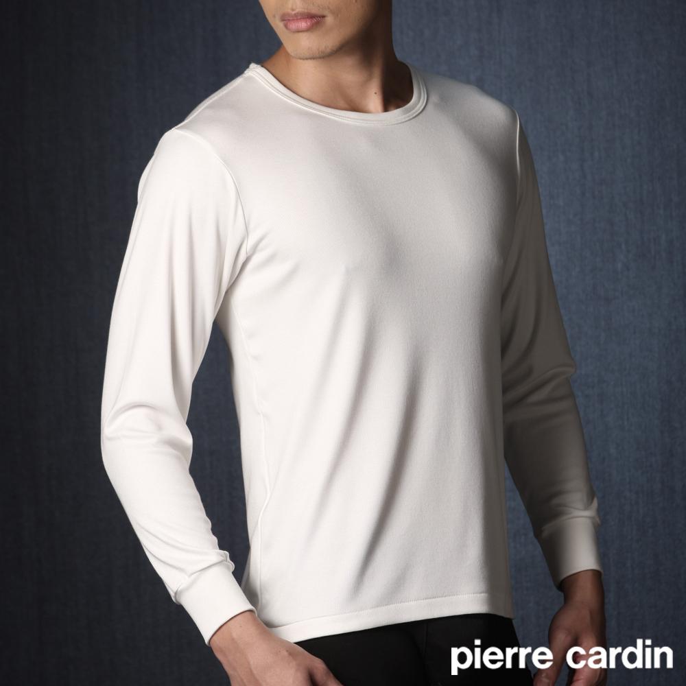【Pierre Cardin皮爾卡登】柔暖纖圓領保暖/衛生衣(白)