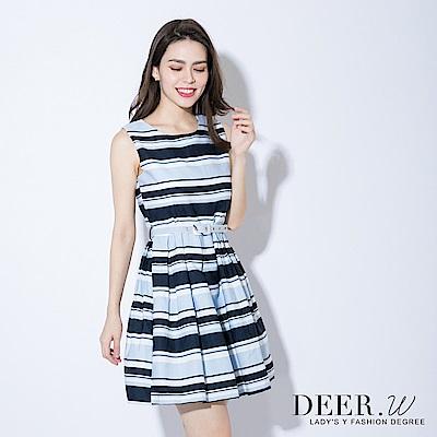 DEER.W 配色橫條剪裁腰帶洋裝(共兩色)
