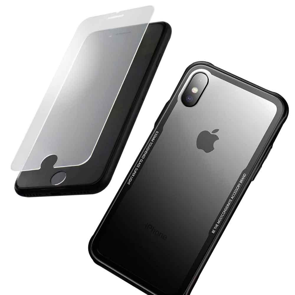 iPhone 8+/7+ 晶讚時尚玻璃殼 保護殼 抗刮全透明背版(贈螢幕玻璃膜)
