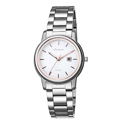 LICORNE力抗錶 品味時光都會手錶 白玫瑰金x銀/33mm