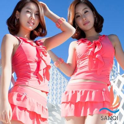 SANQI三奇 情著夏 三件式泳裝 比基尼泳衣(粉M~XL)