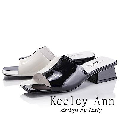 Keeley Ann 衝擊玩酷~大方撞色粗中跟拖鞋(黑色-Asin系列)