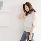 雪紡傘襬袖後層次剪裁寬鬆襯衫-OB嚴選