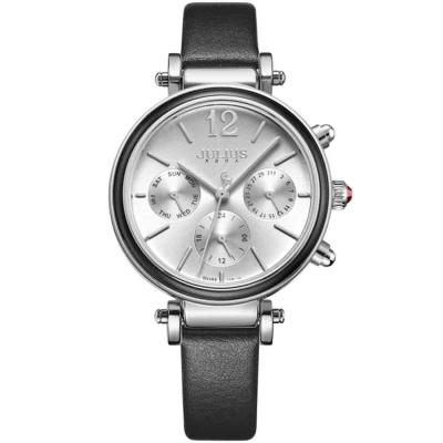 JULIUS聚利時 LADY FIRST三眼設計皮錶帶腕錶-百搭黑/34mm