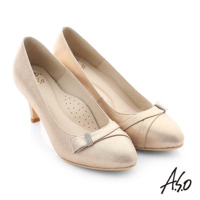 A.S.O 璀璨注目 水鑽蝴蝶結真皮質感高跟鞋 金色