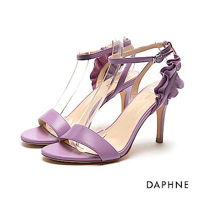 達芙妮DAPHNE 涼鞋-荷葉邊飾片一字高跟涼鞋-紫